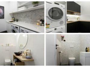 the block reveals hallway, laundry and powder room