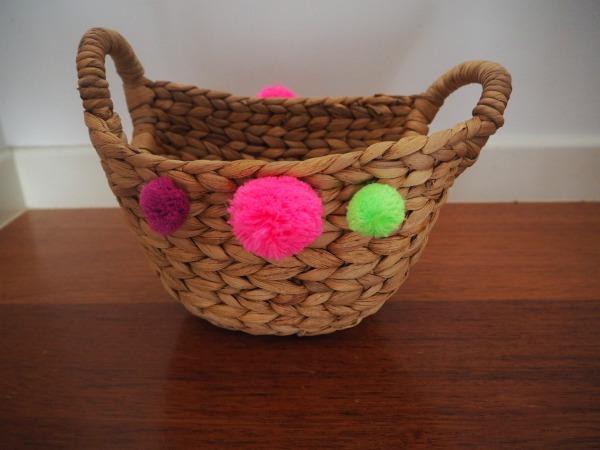 diy pom pom gift basket glue