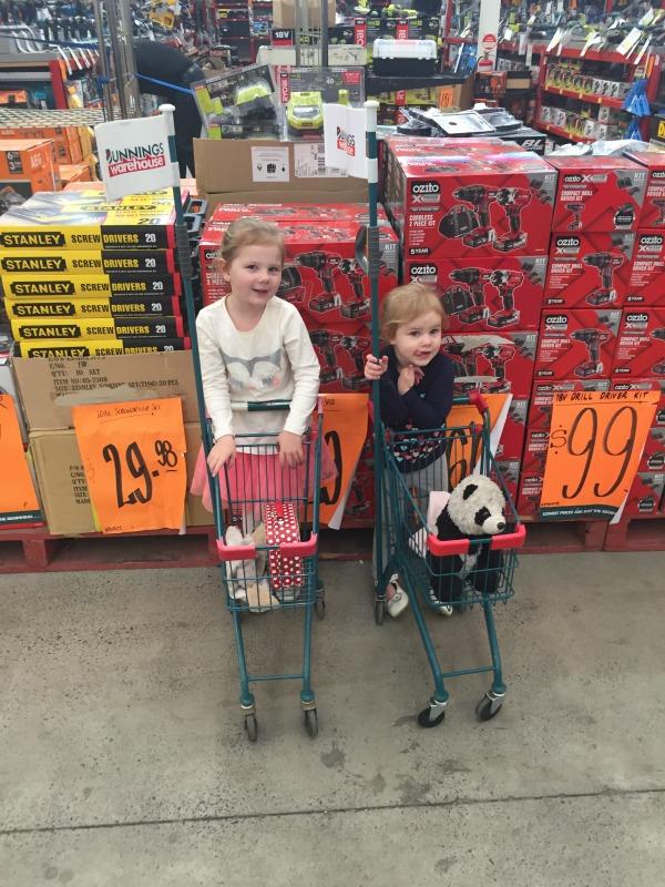 kids shopping at bunnings