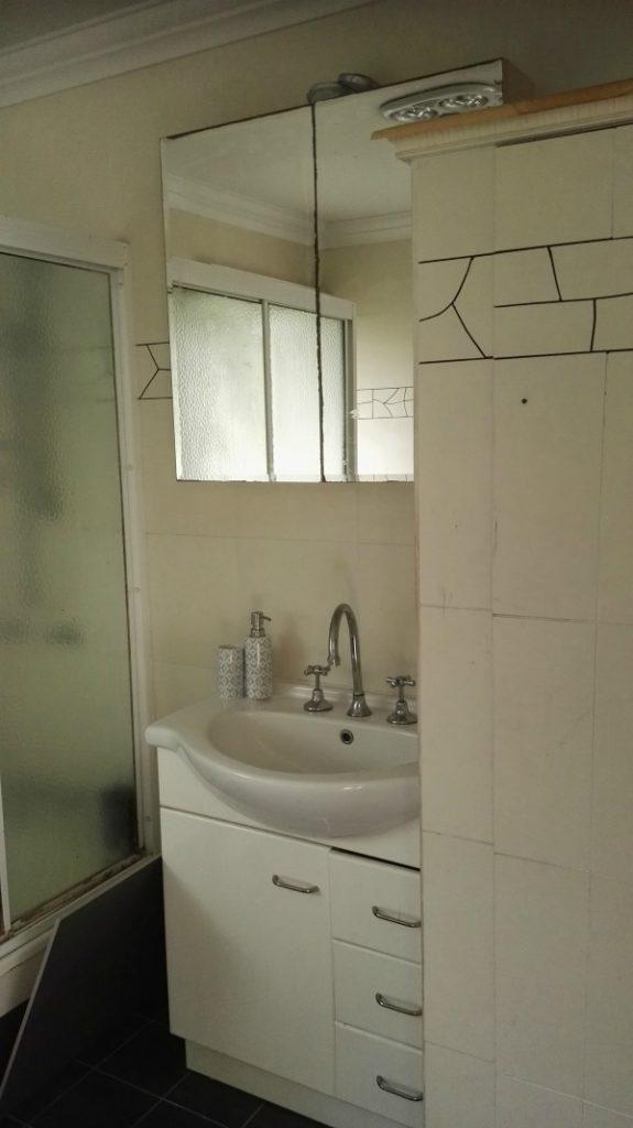 bathroom renovation vanity storage before