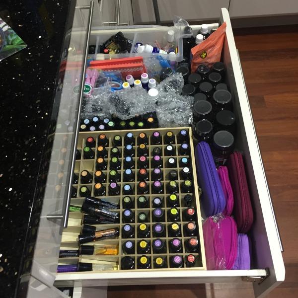 kitchen drawer storage for essential oils