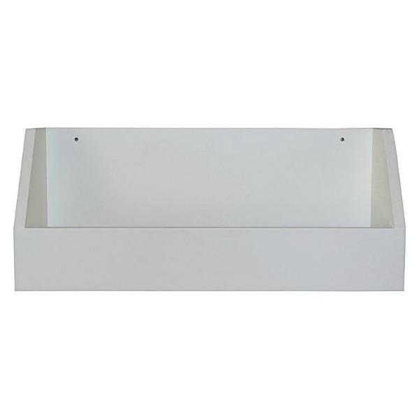 white storage shelf for essential oils