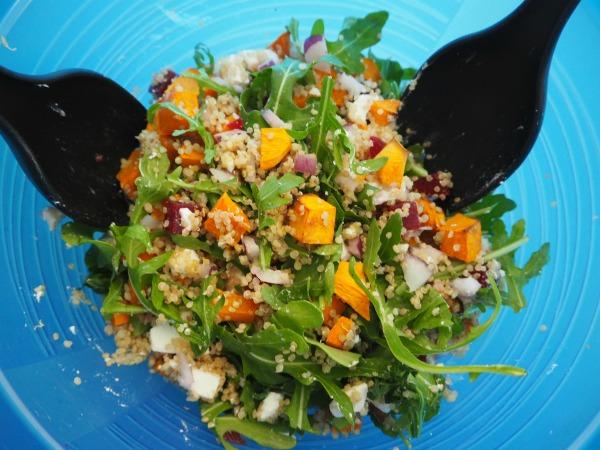 tradie's lunchbox roast pumpkin, feta and beetroot quinoa salad
