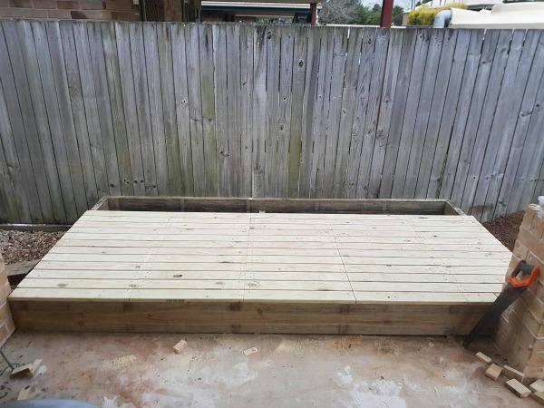timber sandpit and deck lid