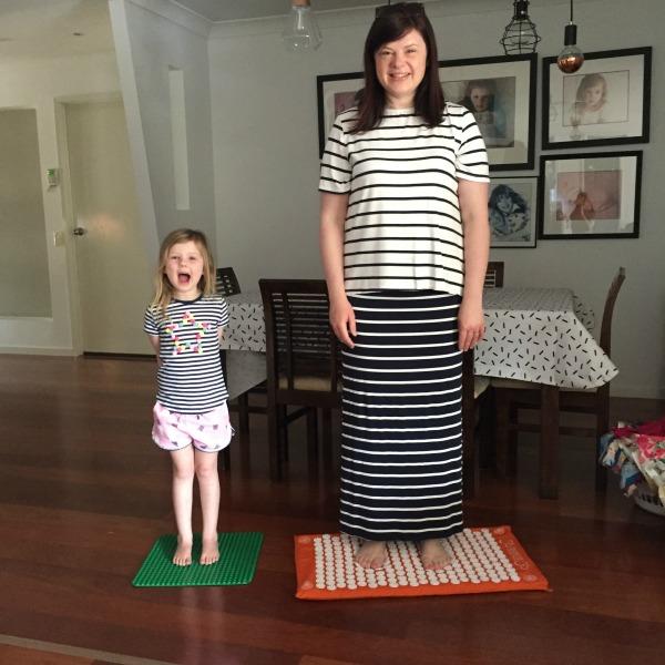 the plumbette using her shakti mat