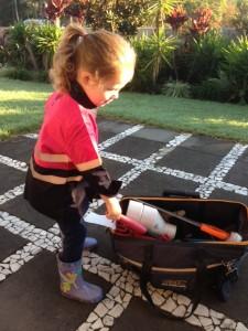 Looking through mummy's tool bag