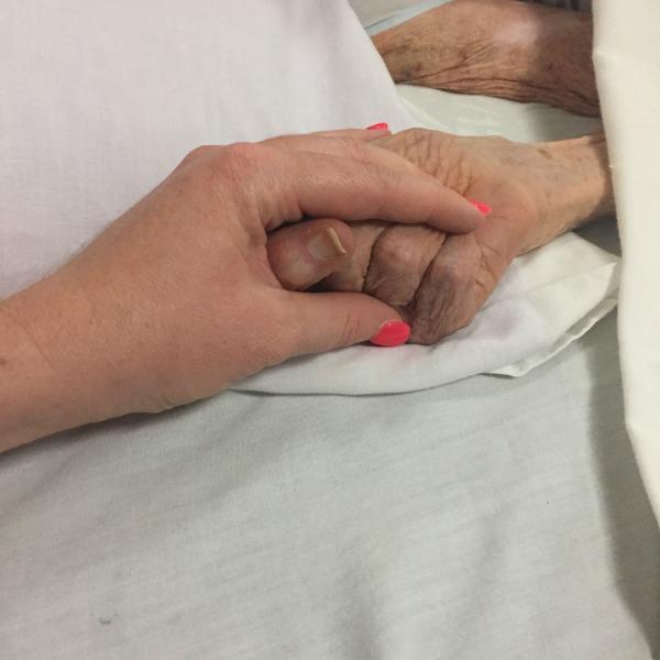 holding grandma's hand