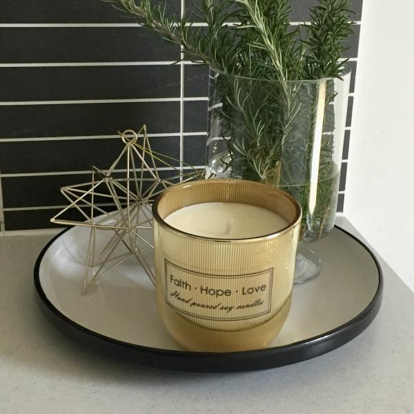 christmas vignette faith hope love candles