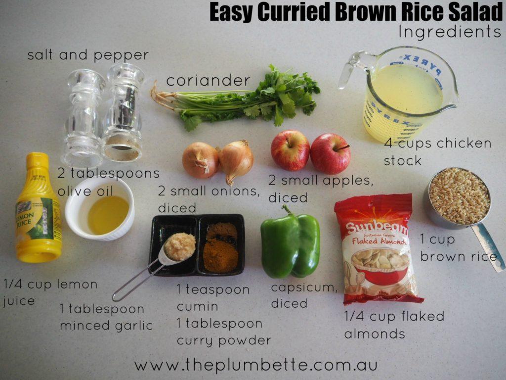 easy curried brown rice salad ingredients