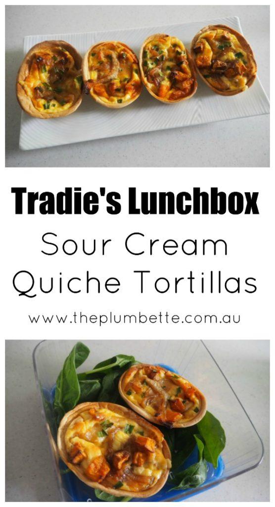 tradies lunchbox sour cream quiche tortillas