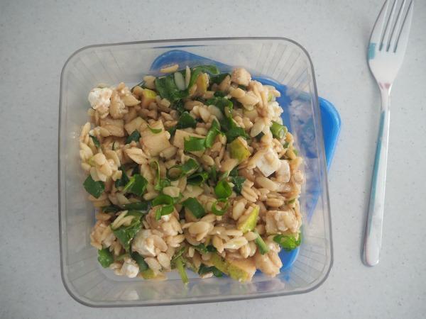 rocket, pear and feta risoni salad tradies lunchbox