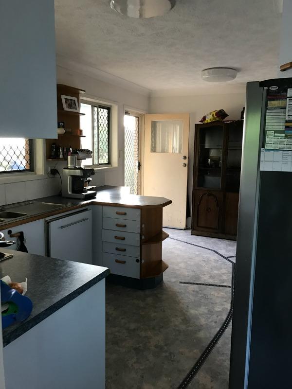 modern black and white kitchen before