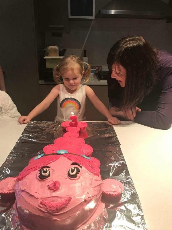 trolls party cake