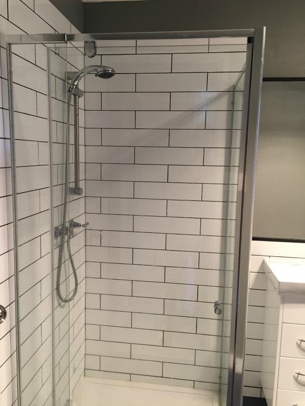 shower after on $1000 bathroom makeover
