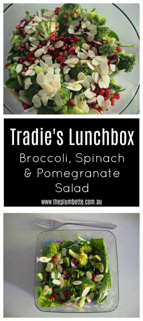 broccoli spinach and pomegranate salad