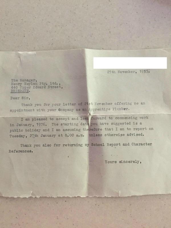 plumbing apprenticeship letter