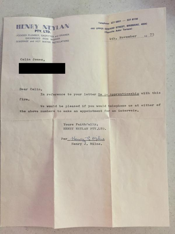 letter for plumbing apprenticeship