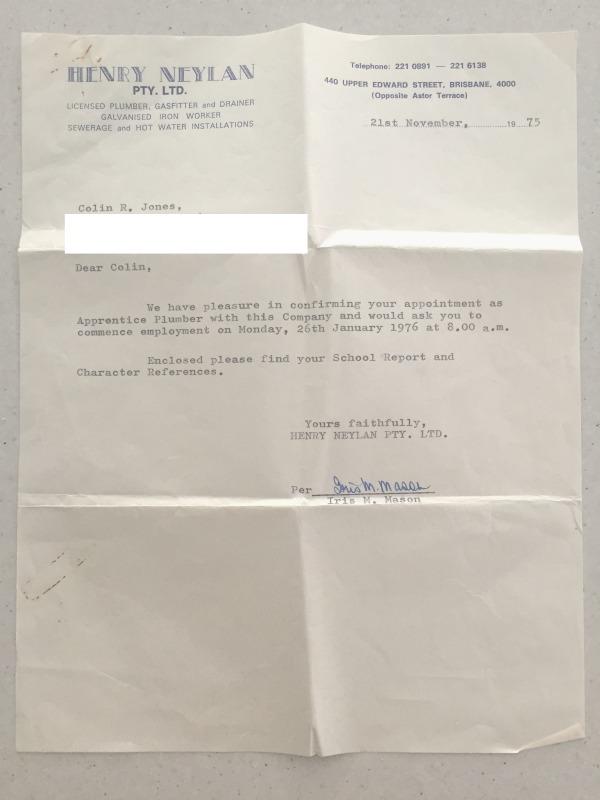 letter offering plumbing apprenticeship