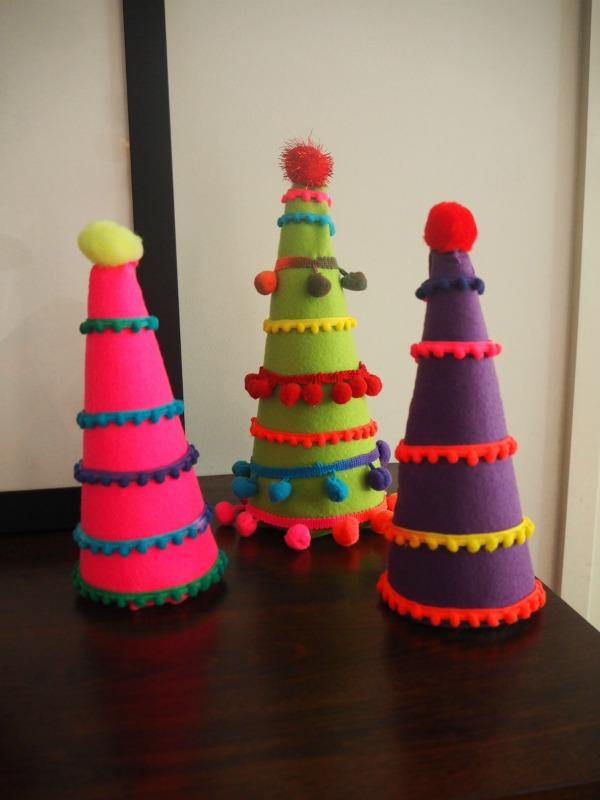 Bohemian Inspired Pom Pom Felt Christmas Trees
