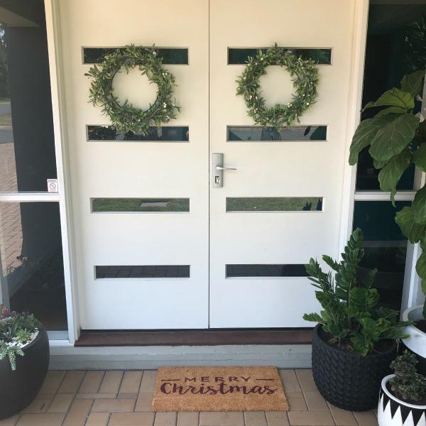 wreaths on the front door
