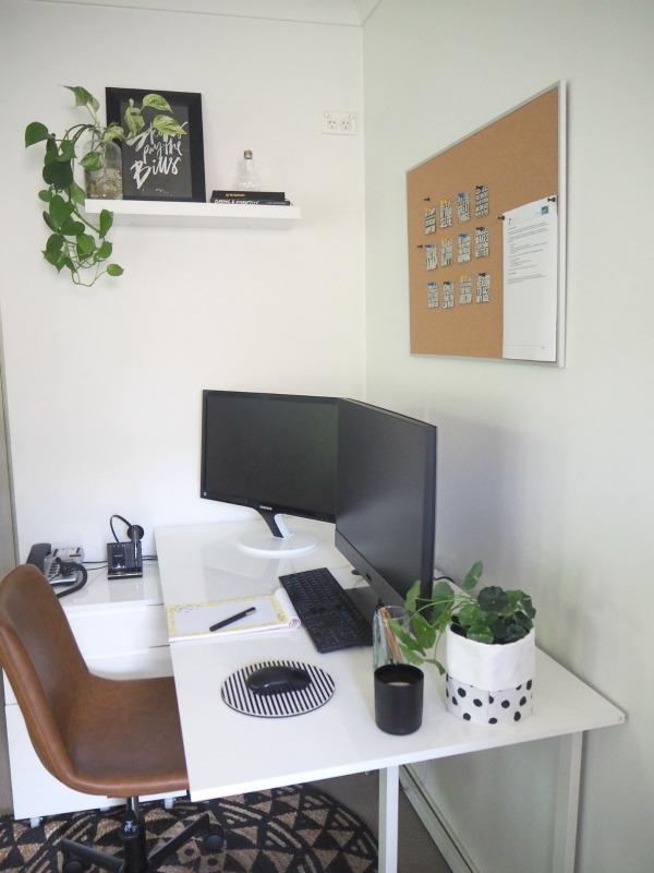 corner desk space in the master bedroom
