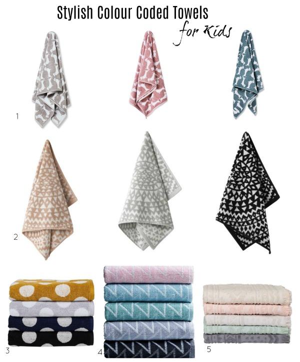 colour code kids towels