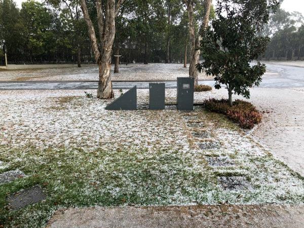 hail in front yard winter wonderland