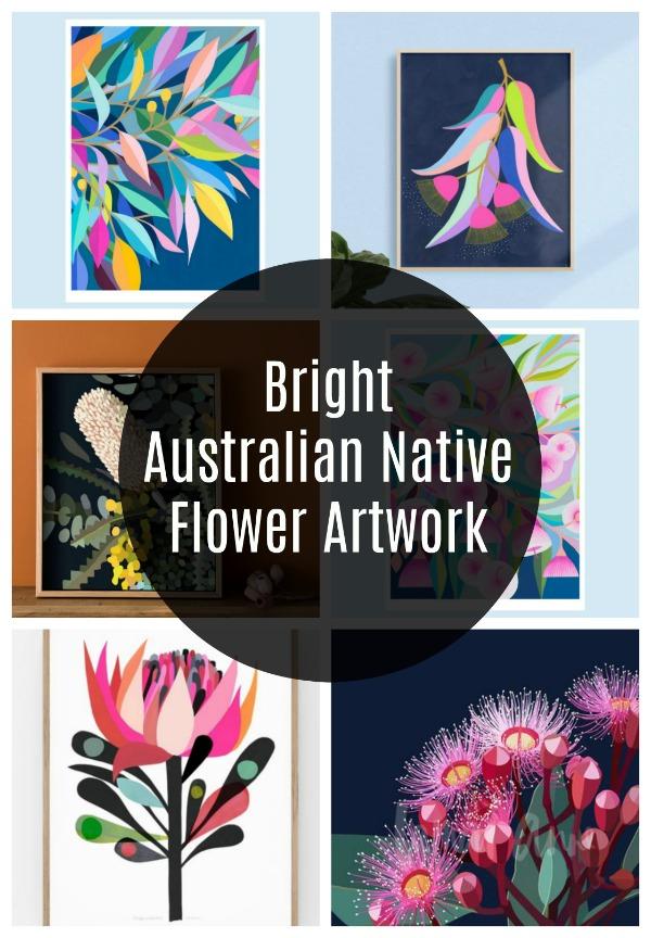 Bright australian native flower artwork prints
