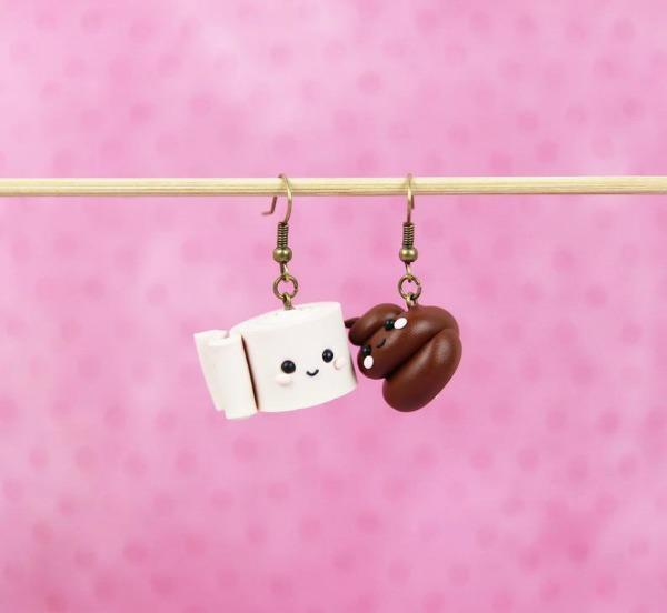 toilet paper and poo emoji earrings