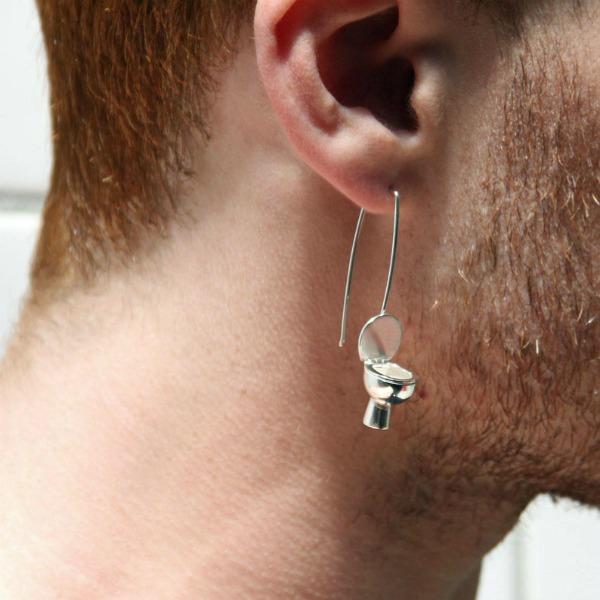 sterling silver toilet earrings