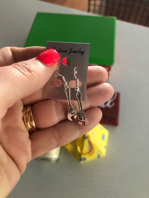 tradie tool earrings spanners for plumbers