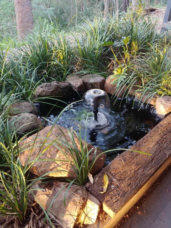 upcycle bath shower base into a pond