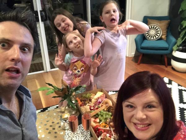 kids interrupting date night in living room