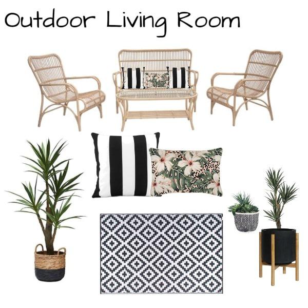 boho coastal outdoor living room moodboard