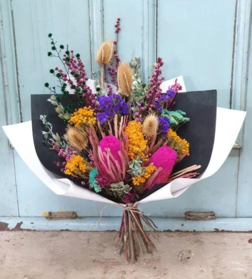 Posy and twine rainbow dried flower bouquet