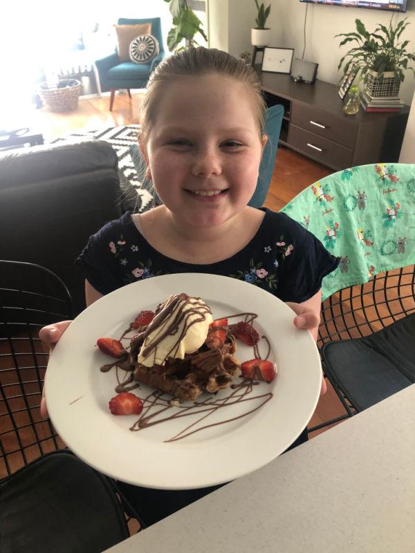 chocolate strawberries waffles